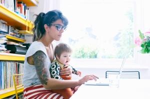 mom tatoos baby remote work